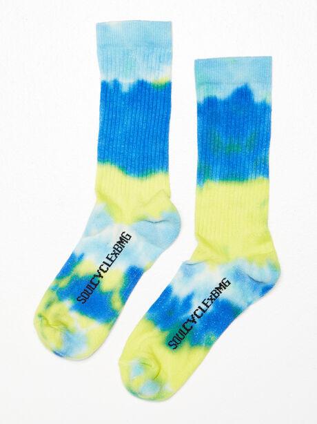 Unisex Tie-Dye Crew Sock Yellow/Blue, Navy/Yellow, large image number 0