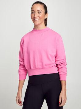 Milan Cropped Crewneck Sweatshirt, Hot Pink, large