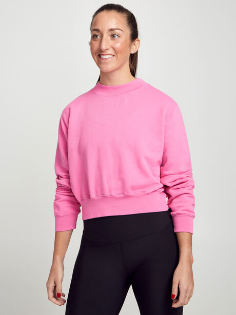 Milan Cropped Crewneck Sweatshirt, Hot Pink, large image number 0