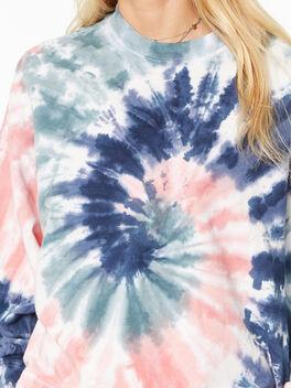 Neil Sweatshirt Wave Tie-Dye Coral/Dusk/Mint, , large