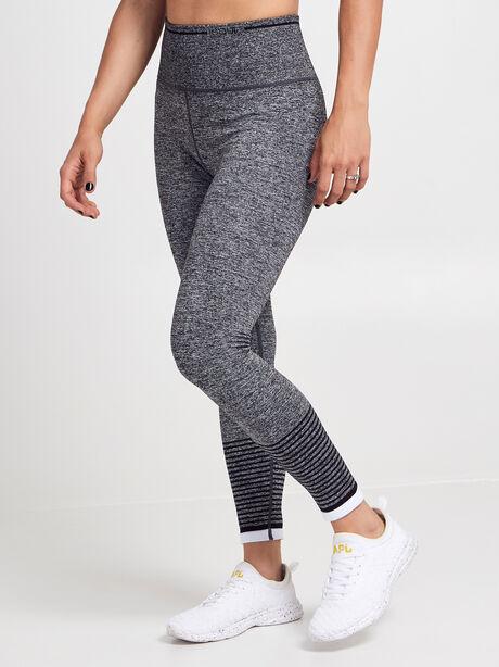 Striped Seamless Legging, Black/Grey/White, large image number 0