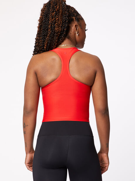 Cropped Performance Racer Tank Red, Red, large image number 2