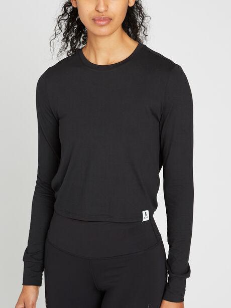 Keyhole Back Crop Long Sleeve, Black, large image number 1