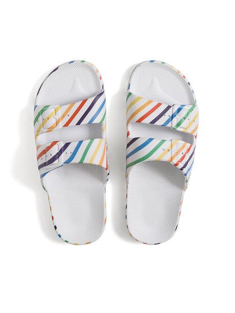 Moses Two Band Slides Rainbow Stripe, Multi, large image number 0