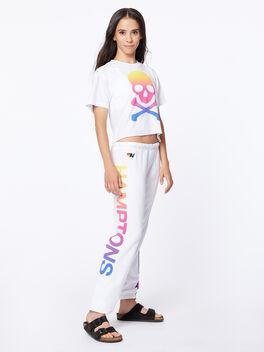 Exclusive 5 Stripe Sweatpant White/Rainbow Hamptons, White, large