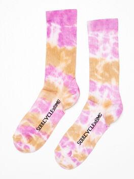 Unisex Tie-Dye Crew Sock Olive/Purple, , large