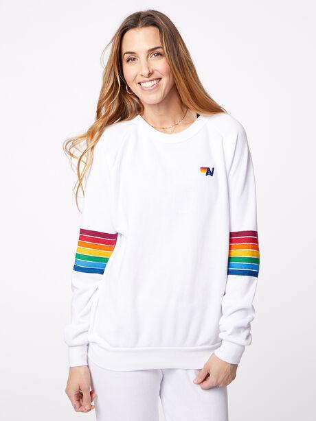 Rainbow Stitch Crew Sweatshirt White, White, large image number 1