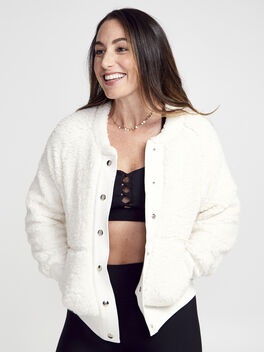 Aaron Bomber Jacket , White, large