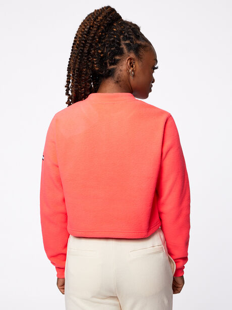 Double Team Cropped Half-Zip Pink, Hot Pink, large image number 3