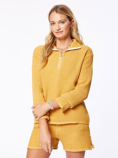 Waffle Half-Zip Pullover Honey, , large image number 2