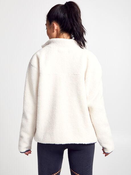 White Shearling Tri-Tone Zip-Up, Natural, large image number 2