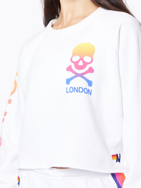 Exclusive Classic Cropped Crew Sweatshirt White/Rainbow London, White, large image number 4