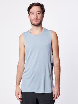 Fast and Free Tank, Heathered Chambray/True Navy, large