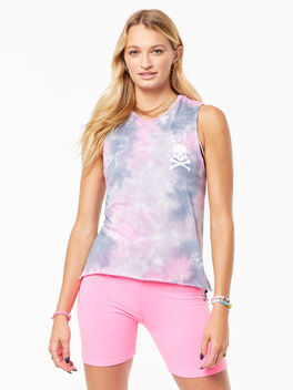 Tie-Dye Mary Tank Pink/Grey, , large