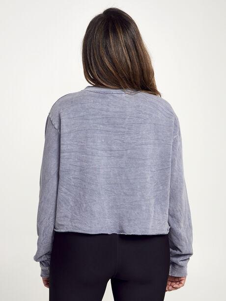 Casey Crop Sweatshirt, Dark Grey, large image number 3