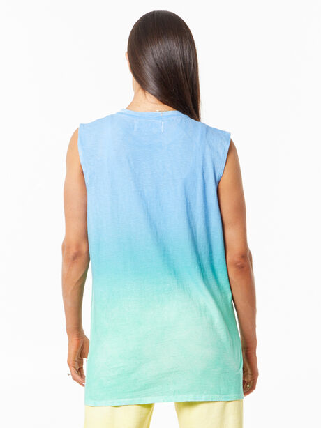 SOUL Green Recycled Cotton All Souls Muscle Tank Blue/Green, Blue/Green, large image number 2