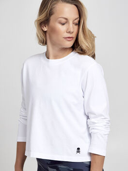 After-Class White Long Sleeve Shirt, White/Black, large