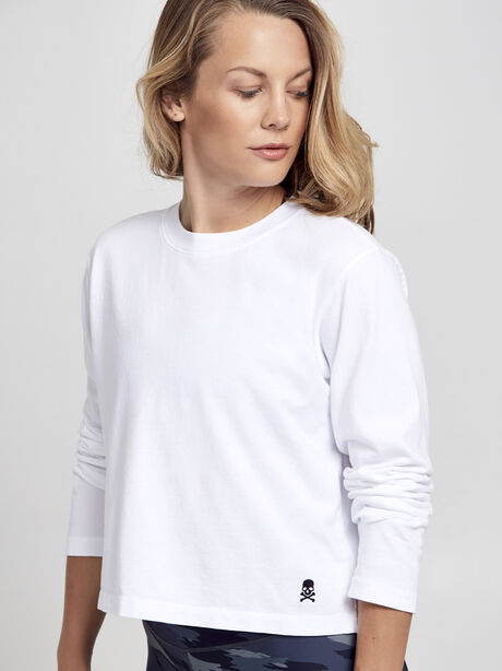 After-Class White Long Sleeve Shirt, White/Black, large image number 0