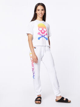 Exclusive 5 Stripe Sweatpant White/Rainbow London, White, large