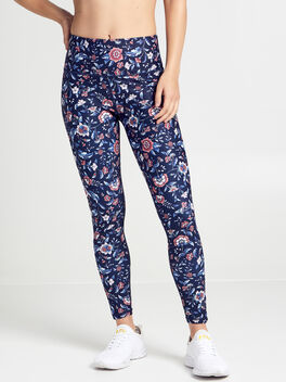 Ruched Floral Leggings, Navy Multi, large