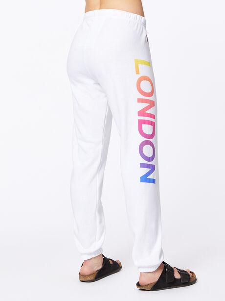 Exclusive 5 Stripe Sweatpant White/Rainbow London, White, large image number 4