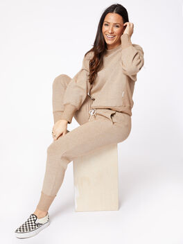 Amberley Ribbed Pique Jogger Biscuit, Tan, large