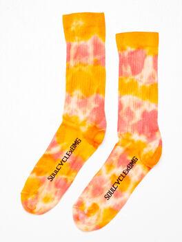 Unisex Tie-Dye Crew Sock Red/Orange, Orange/Red, large