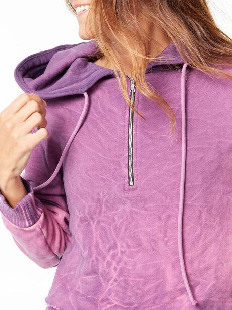Brooklyn Cropped Quarter-Zip Hoodie Lavender Mix, Purple, large image number 2