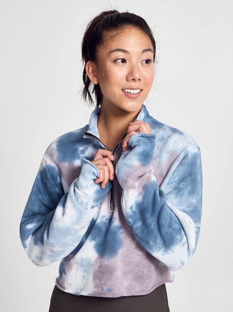 Brooklyn Blue Tie-Dye Zip Sweatshirt, Blue, large image number 0