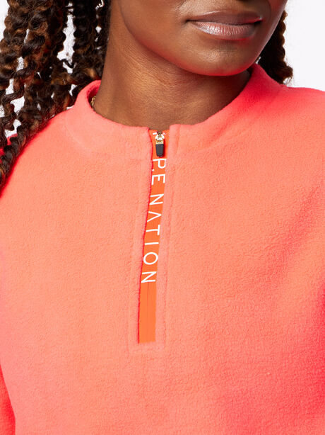 Double Team Cropped Half-Zip Pink, Hot Pink, large image number 1