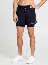 "Flex Stride 2-in-1 Running Shorts 5"", Black/Black/Ref Slvr, large"