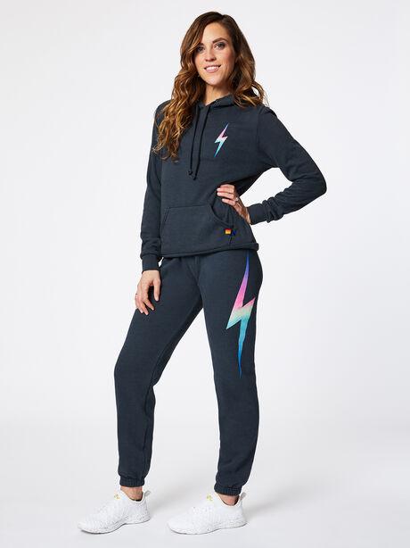 Bolt Hoodie Charcoal, Black/Pink, large image number 4