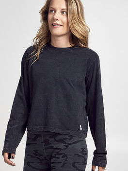 After-Class Black Long Sleeve Shirt, Black/White, large