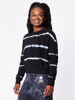 Mattie Crop Sweatshirt, Black/White, large