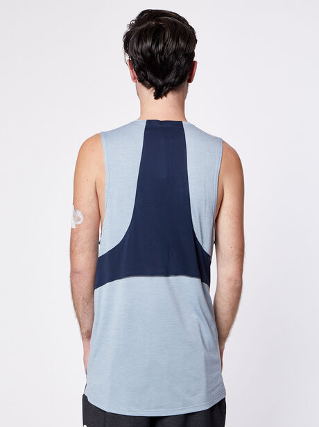Fast and Free Tank, Heathered Chambray/True Navy, large image number 1