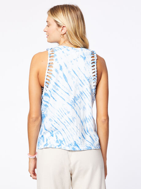 Braid Strap Tank Blue Tie-Dye, Blue Tied, large image number 2