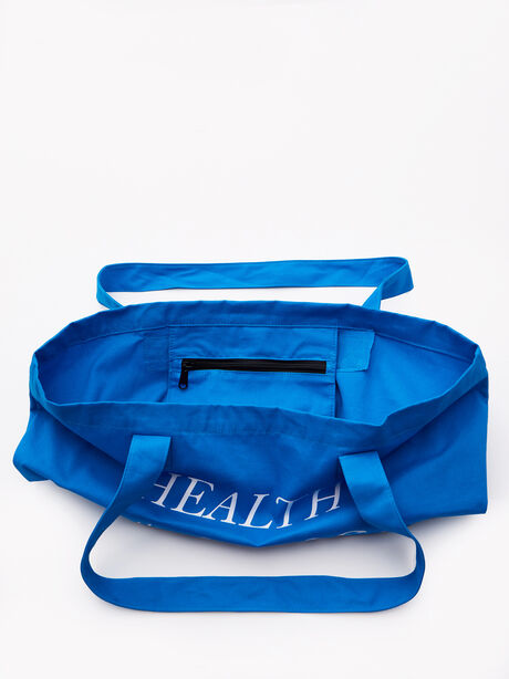 Health Is The Game Tote Bag Blue, Blue, large image number 1