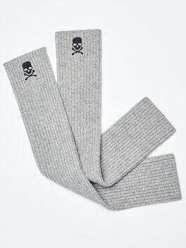 SKULL LEG WARMER- CASHMERE BLE, Grey, large