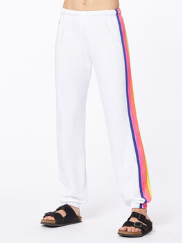 Exclusive 5 Stripe Sweatpant White/Rainbow, White, large