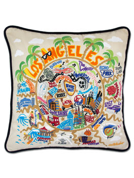 Hand Embroidered Regional Pillow, Los Angeles, large