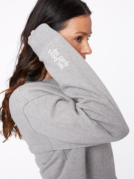 Oversized Crew Neck Sweatshirt Grey Marl, Grey, large image number 2