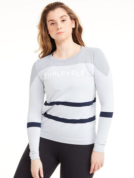 SoulCycle LS w/ Stripes, White/Blue, large