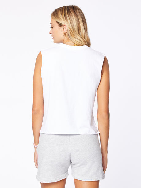 July 4th Cropped Mary Muscle Tank White, White, large image number 2