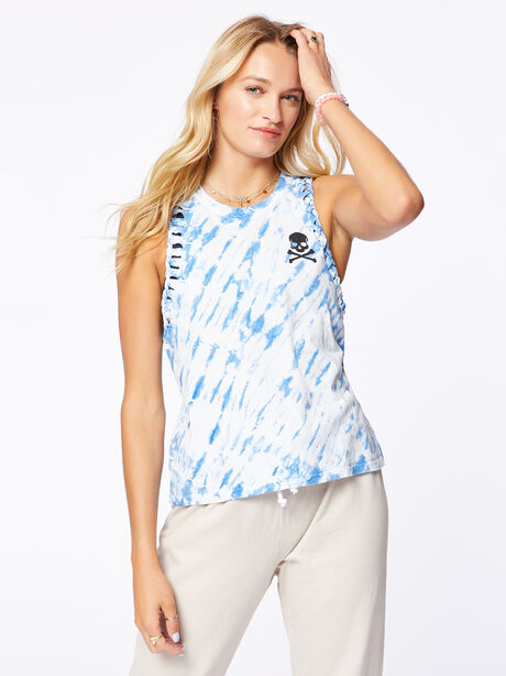 Braid Strap Tank Blue Tie-Dye, Blue Tied, large image number 0