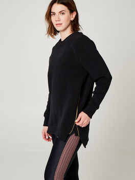 RIBBED SWEATSHIRT WITH ZIPPER, Black, large