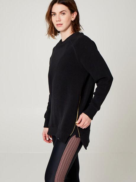 Ribbed Sweatshirt with Zipper Detail, Black, large image number 0