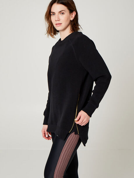 Ribbed Sweatshirt with Zipper Detail, Black, large image number 0