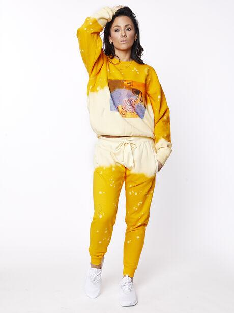 Acid Wash Sweatpant Sunrise, Yellow, large image number 4