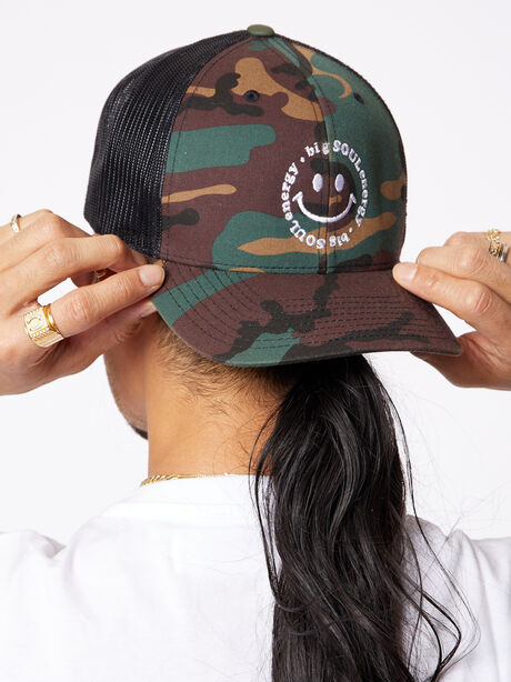 Big Soul Energy Trucker Hat Camo, Green/Camo, large image number 1