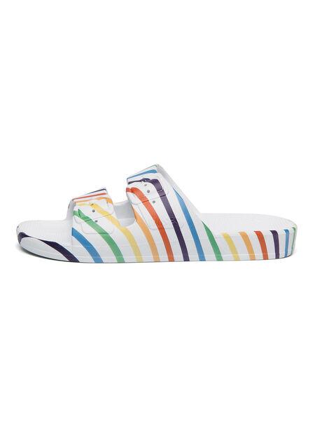 Moses Two Band Slides Rainbow Stripe, Multi, large image number 1